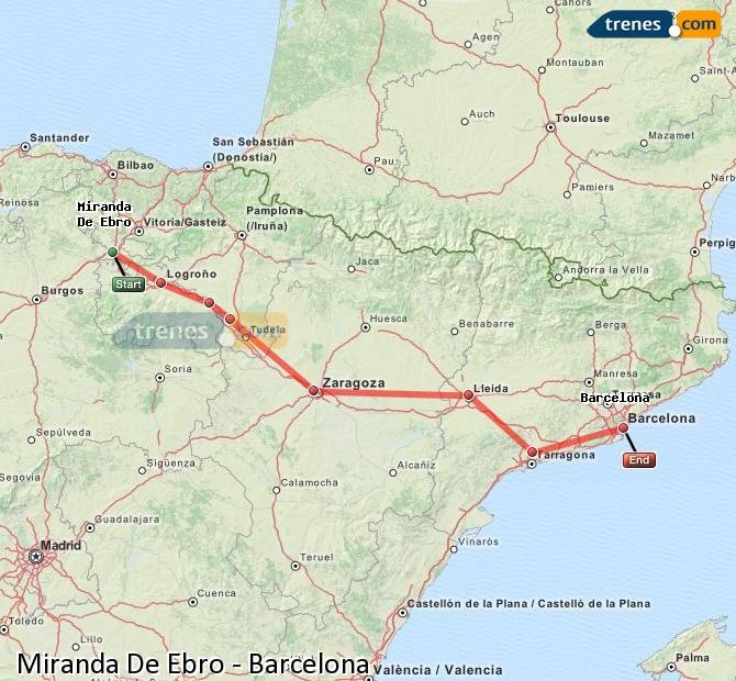 Enlarge map Trains Miranda De Ebro to Barcelona