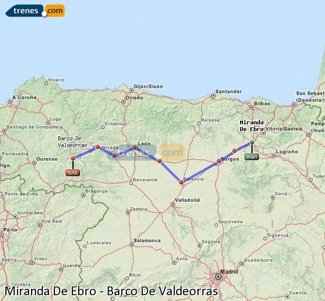 Karte vergrößern Züge Miranda De Ebro Barco De Valdeorras