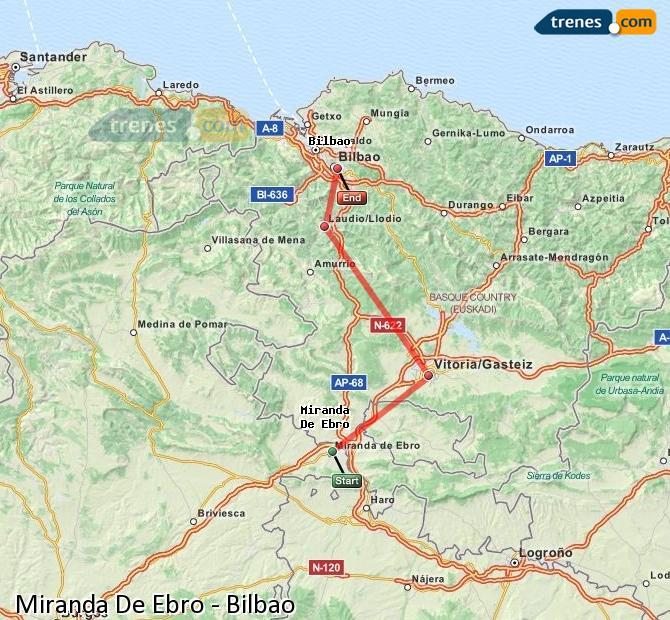 Karte vergrößern Züge Miranda De Ebro Bilbao