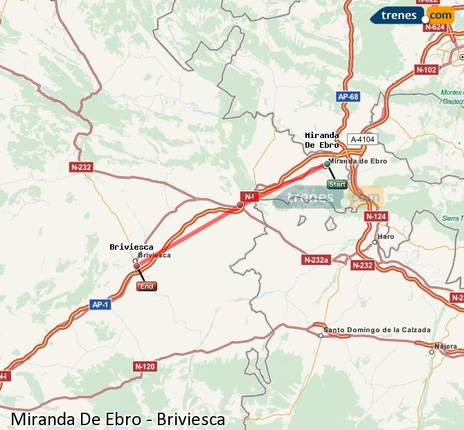 Enlarge map Trains Miranda De Ebro to Briviesca