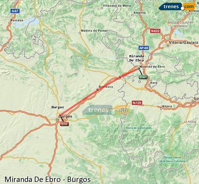 Enlarge map Trains Miranda De Ebro to Burgos