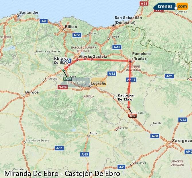 Karte vergrößern Züge Miranda De Ebro Castejón De Ebro