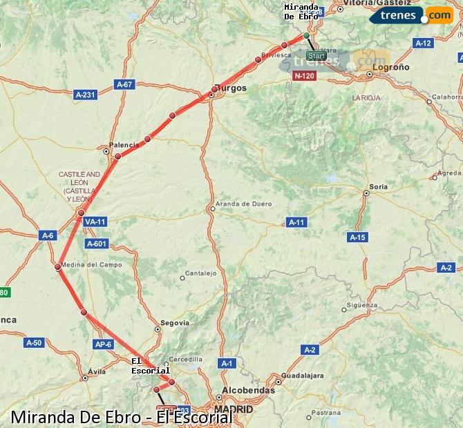 Ingrandisci la mappa Treni Miranda De Ebro El Escorial
