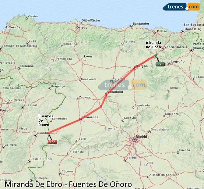 Karte vergrößern Züge Miranda De Ebro Fuentes De Oñoro