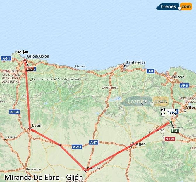 Karte vergrößern Züge Miranda De Ebro Gijón