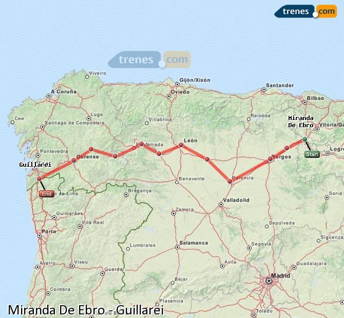 Karte vergrößern Züge Miranda De Ebro Guillarei