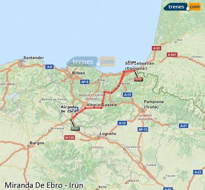 Ampliar mapa Trenes Miranda De Ebro Irún