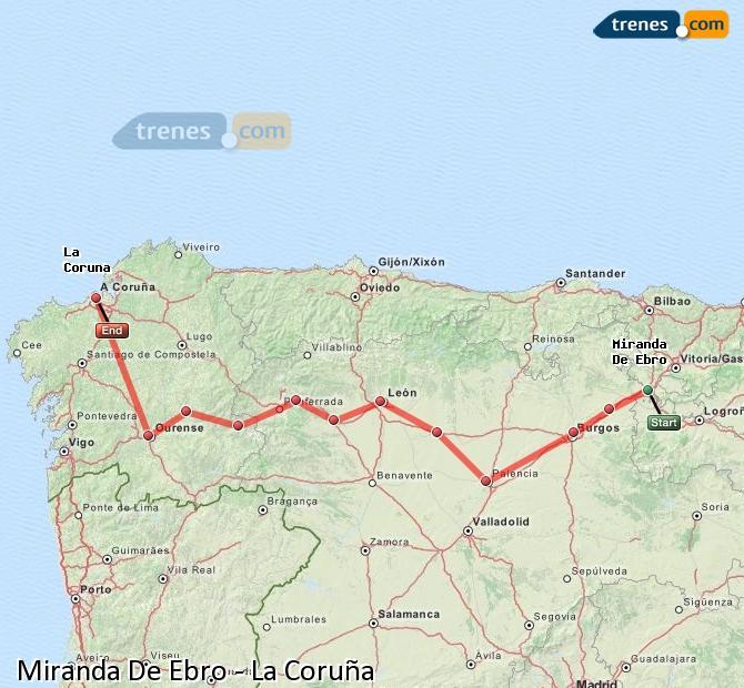 Karte vergrößern Züge Miranda De Ebro La Coruña
