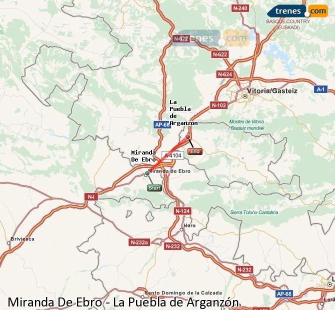 Enlarge map Trains Miranda De Ebro to La Puebla de Arganzón