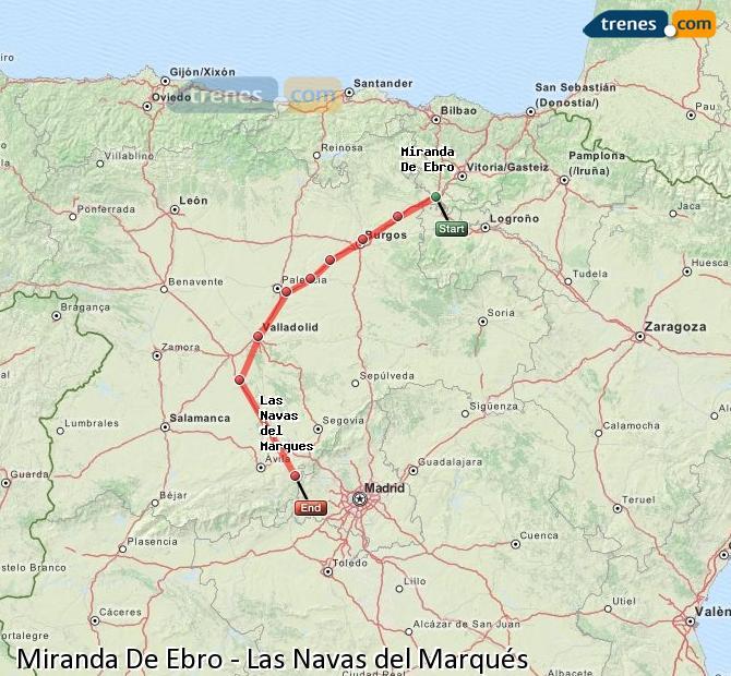 Karte vergrößern Züge Miranda De Ebro Las Navas del Marqués