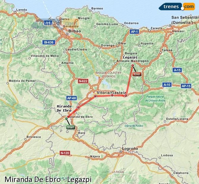 Ampliar mapa Trenes Miranda De Ebro Legazpi