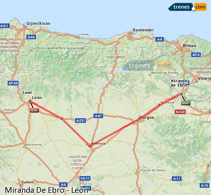 Enlarge map Trains Miranda De Ebro to Lion