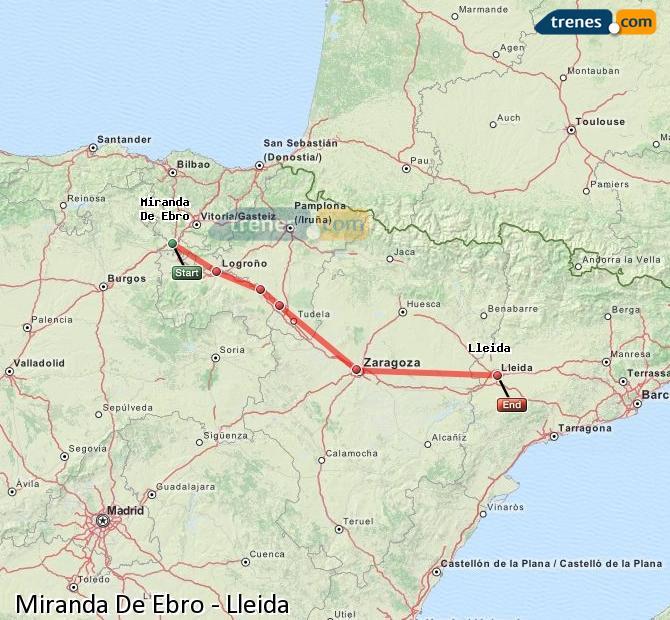 Karte vergrößern Züge Miranda De Ebro Lleida
