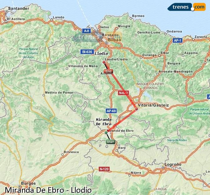 Agrandir la carte Trains Miranda De Ebro Llodio