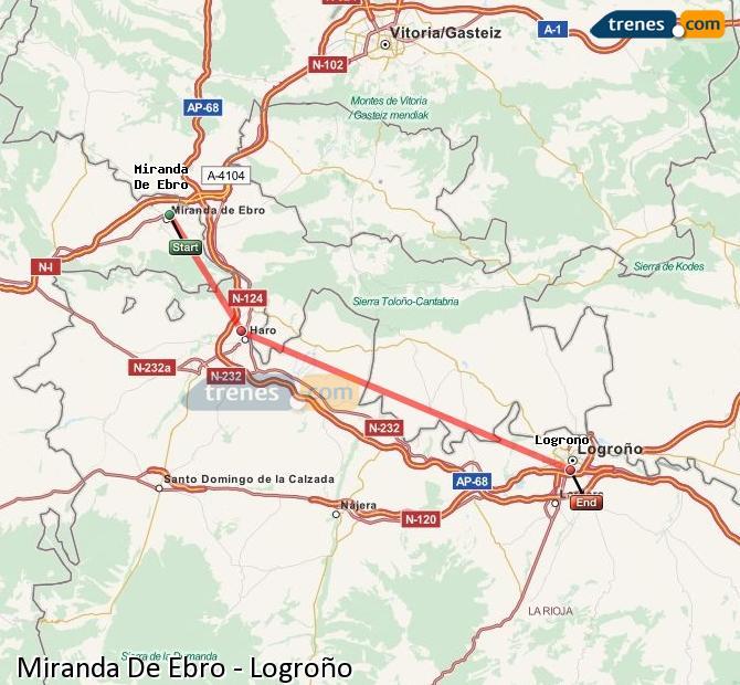 Karte vergrößern Züge Miranda De Ebro Logroño