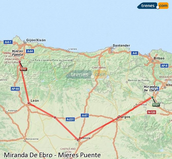 Enlarge map Trains Miranda De Ebro to Mieres Puente