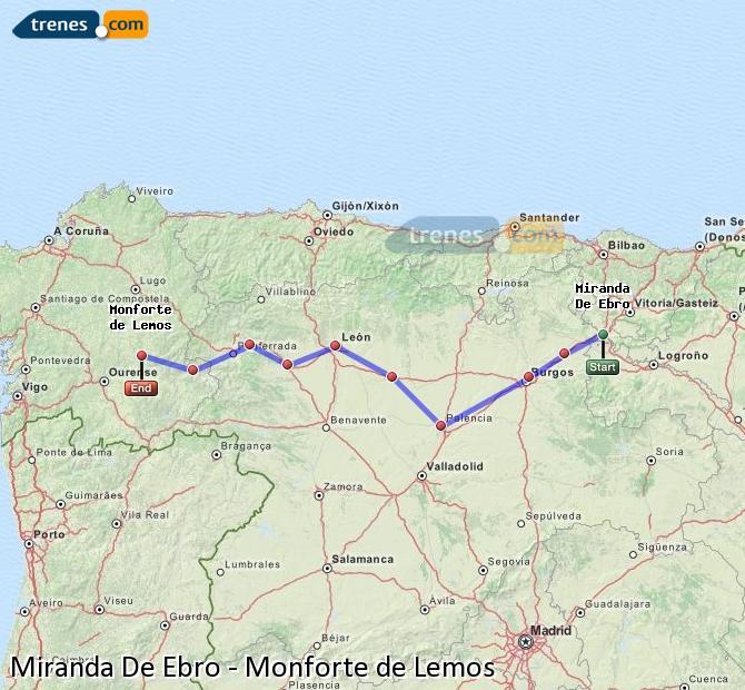 Karte vergrößern Züge Miranda De Ebro Monforte de Lemos