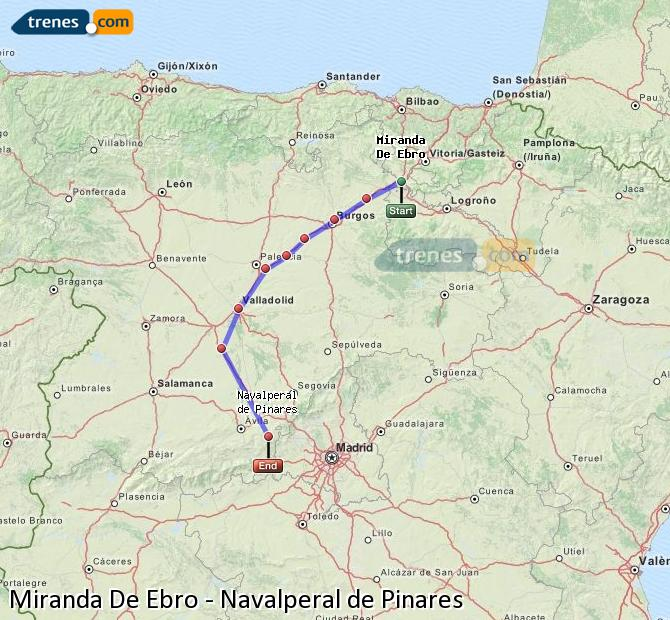 Karte vergrößern Züge Miranda De Ebro Navalperal de Pinares