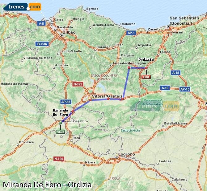 Karte vergrößern Züge Miranda De Ebro Ordizia