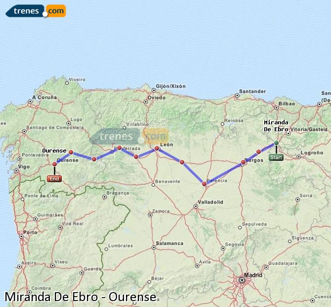 Karte vergrößern Züge Miranda De Ebro Ourense