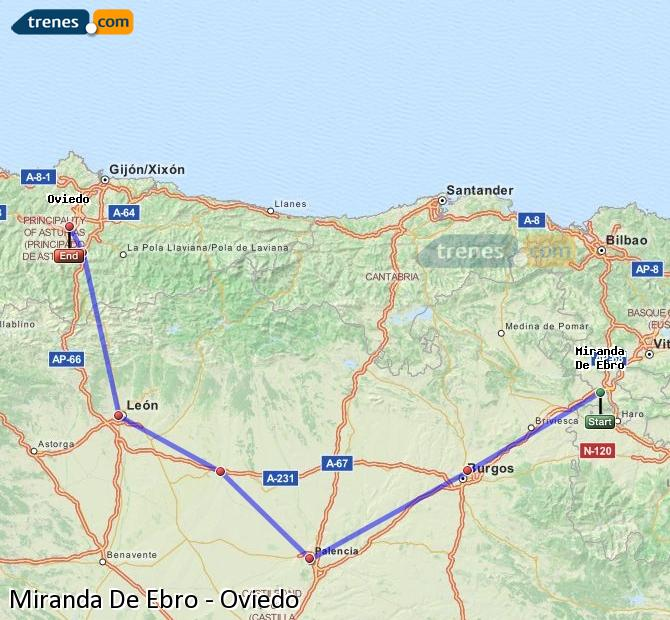 Karte vergrößern Züge Miranda De Ebro Oviedo