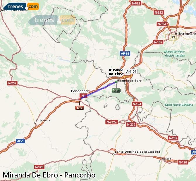 Agrandir la carte Trains Miranda De Ebro Pancorbo