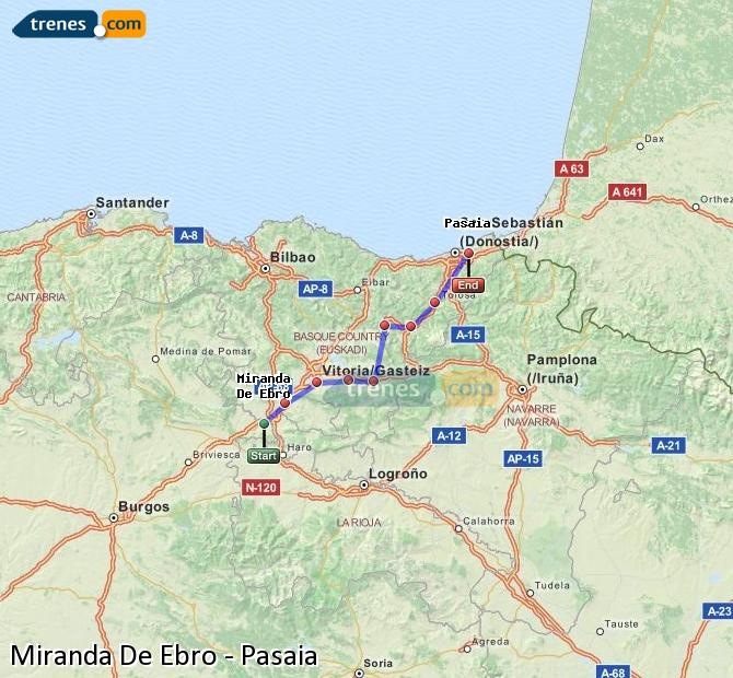 Karte vergrößern Züge Miranda De Ebro Pasaia