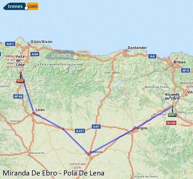 Karte vergrößern Züge Miranda De Ebro Pola De Lena
