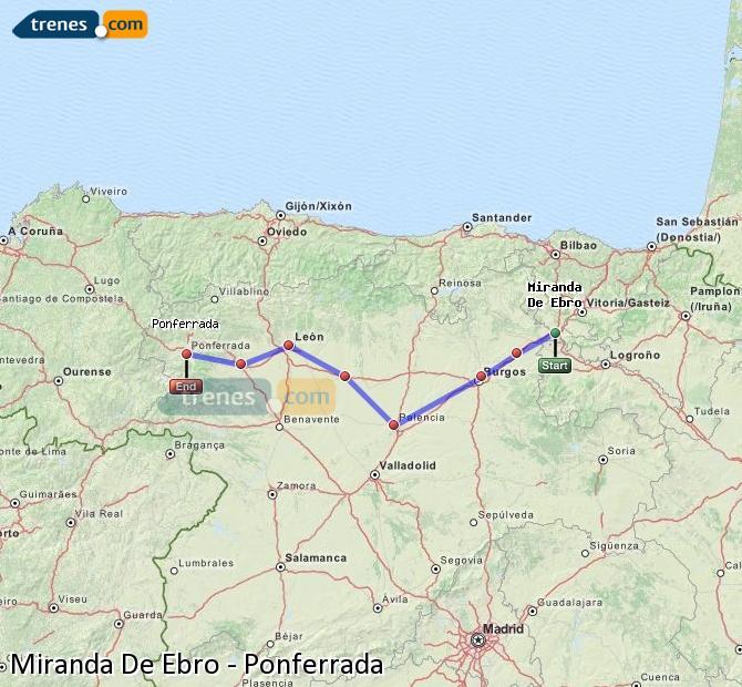 Karte vergrößern Züge Miranda De Ebro Ponferrada