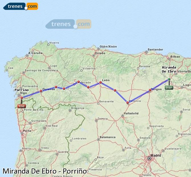 Karte vergrößern Züge Miranda De Ebro Porriño