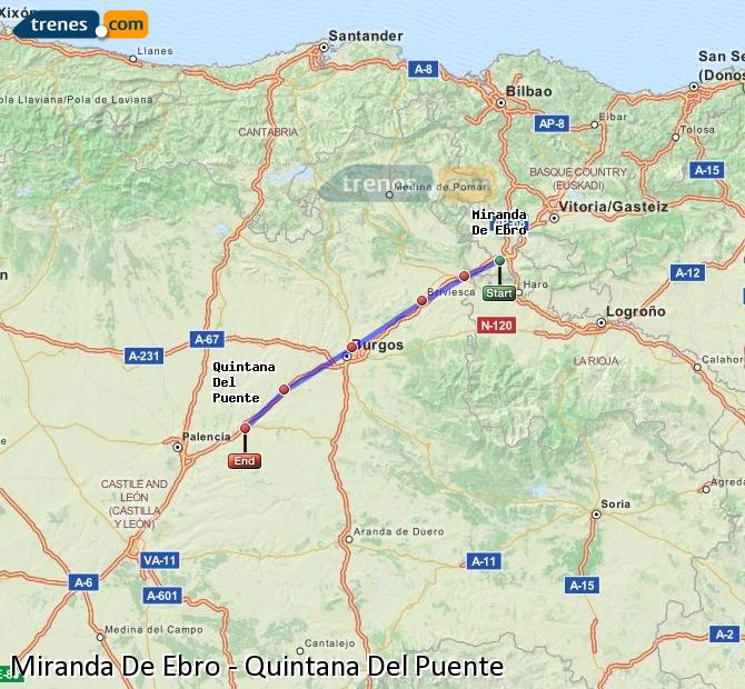Karte vergrößern Züge Miranda De Ebro Quintana Del Puente