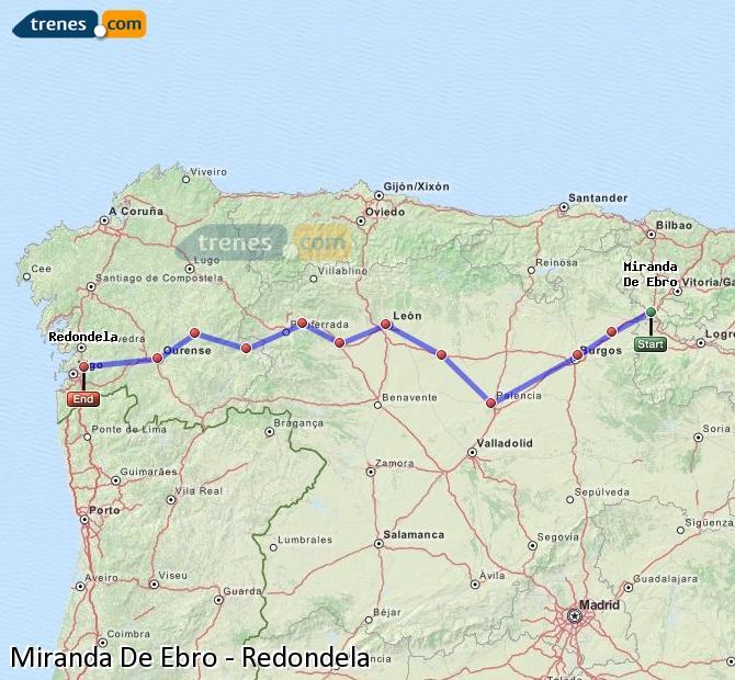 Enlarge map Trains Miranda De Ebro to Redondela