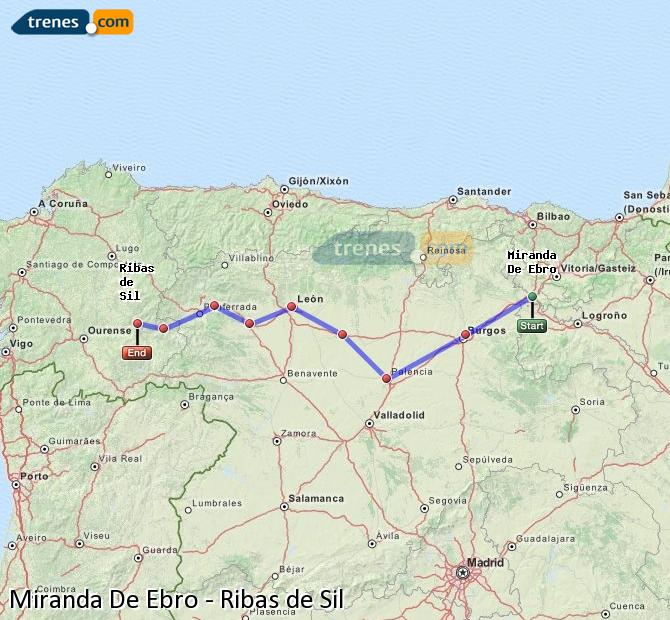 Karte vergrößern Züge Miranda De Ebro Ribas de Sil