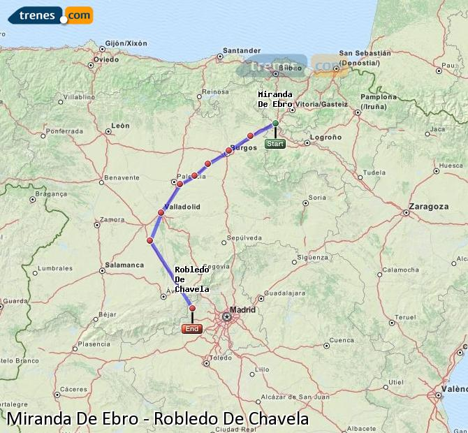 Karte vergrößern Züge Miranda De Ebro Robledo De Chavela