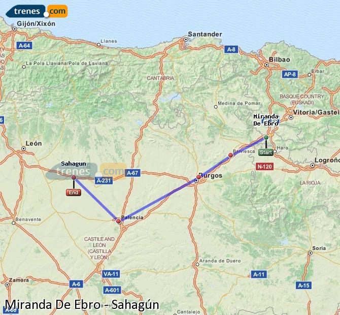 Karte vergrößern Züge Miranda De Ebro Sahagún