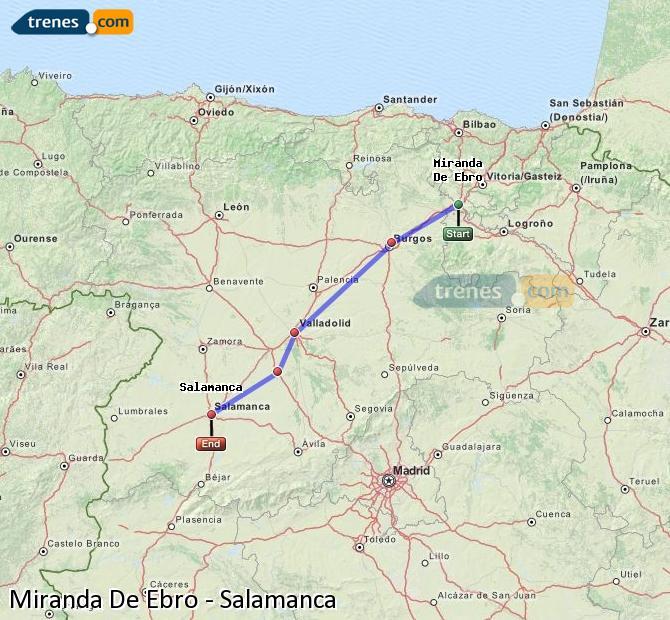 Karte vergrößern Züge Miranda De Ebro Salamanca