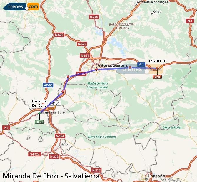 Karte vergrößern Züge Miranda De Ebro Salvatierra