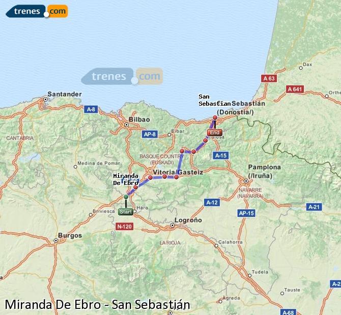 Agrandir la carte Trains Miranda De Ebro San Sebastián