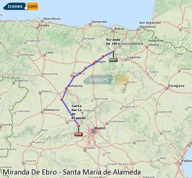 Karte vergrößern Züge Miranda De Ebro Santa María de Alameda