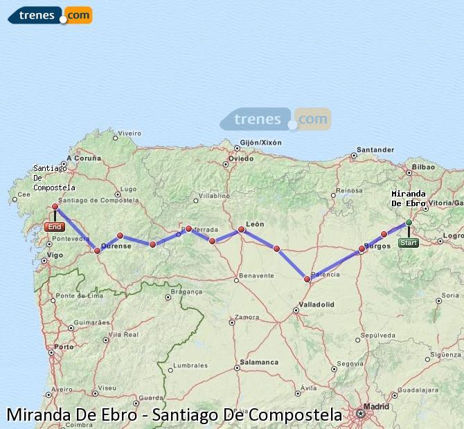 Karte vergrößern Züge Miranda De Ebro Santiago De Compostela