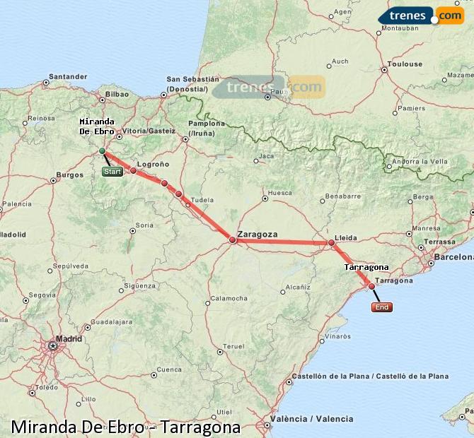 Ingrandisci la mappa Treni Miranda De Ebro Tarragona