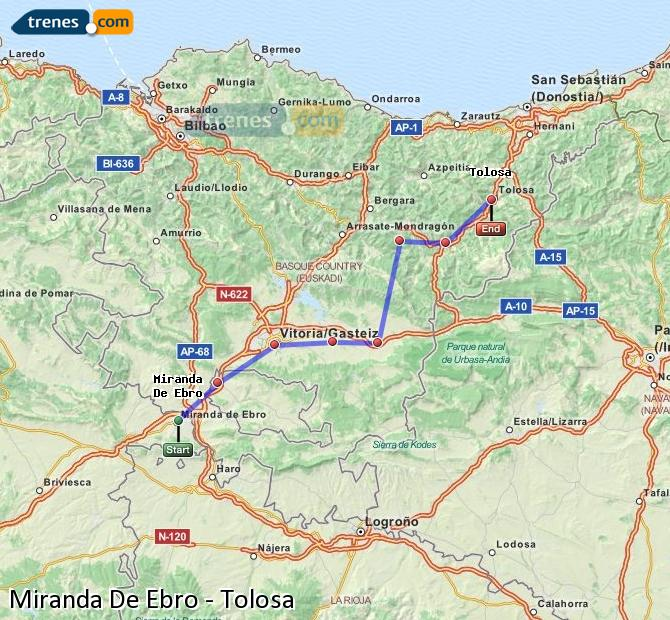 Ingrandisci la mappa Treni Miranda De Ebro Tolosa