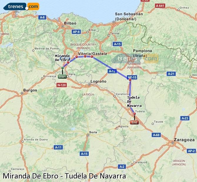 Agrandir la carte Trains Miranda De Ebro Tudela De Navarra