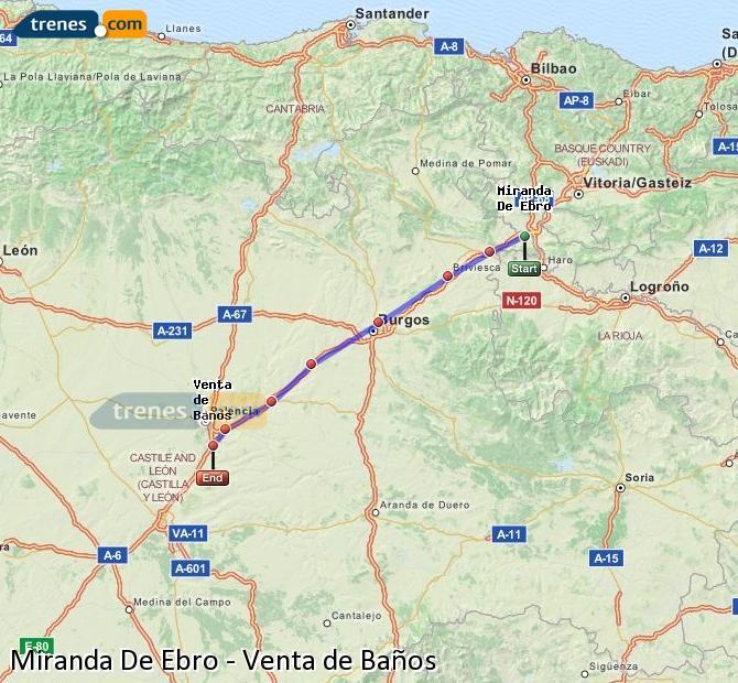 Agrandir la carte Trains Miranda De Ebro Venta de Baños
