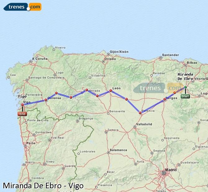 Karte vergrößern Züge Miranda De Ebro Vigo