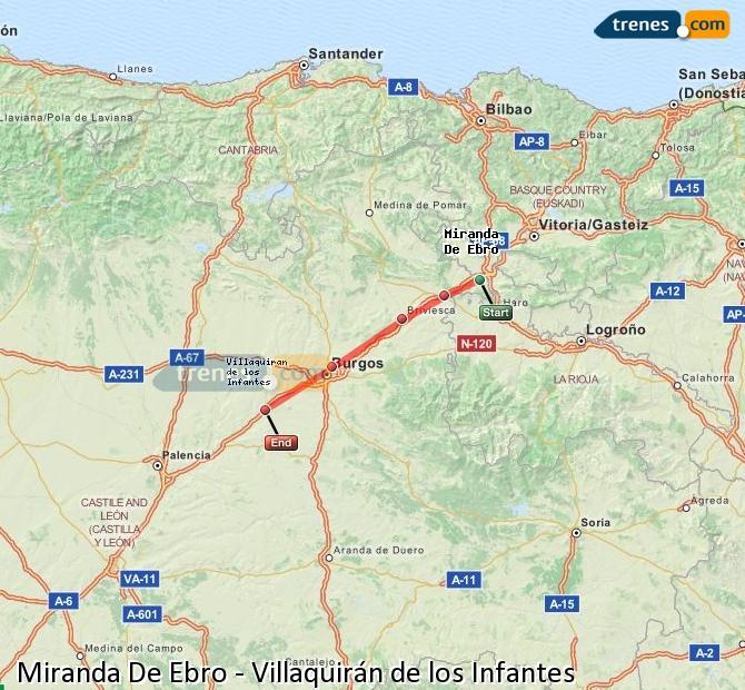 Karte vergrößern Züge Miranda De Ebro Villaquirán de los Infantes