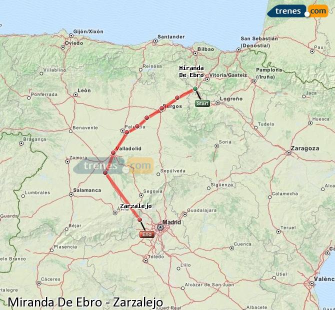 Karte vergrößern Züge Miranda De Ebro Zarzalejo