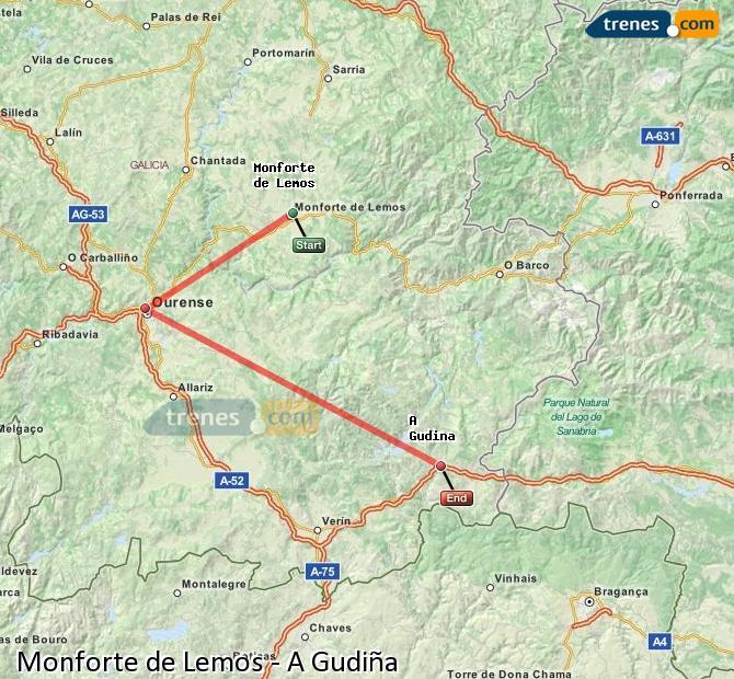 Ampliar mapa Trenes Monforte de Lemos A Gudiña