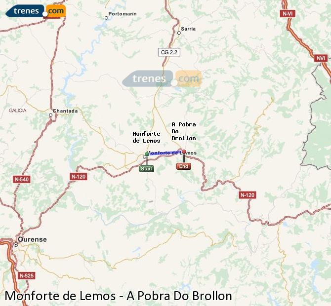 Ingrandisci la mappa Treni Monforte de Lemos A Pobra Do Brollon