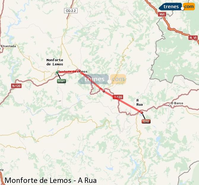 Ampliar mapa Trenes Monforte de Lemos A Rua